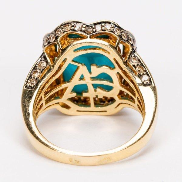 Carlo Viani Turquoise & Diamond Ring, 14k YG - 7