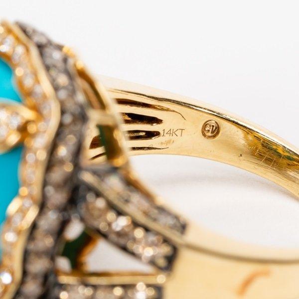 Carlo Viani Turquoise & Diamond Ring, 14k YG - 8