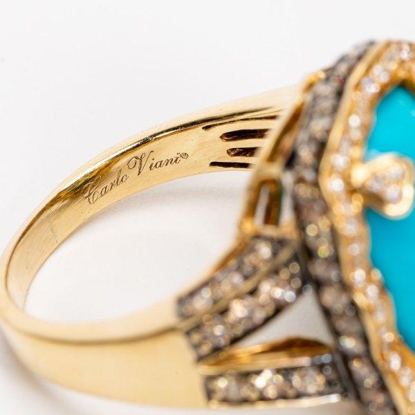Carlo Viani Turquoise & Diamond Ring, 14k YG - 9
