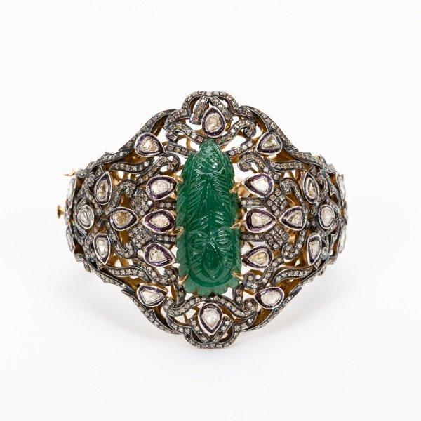 Antique Jade & Diamond Cuff Bracelet