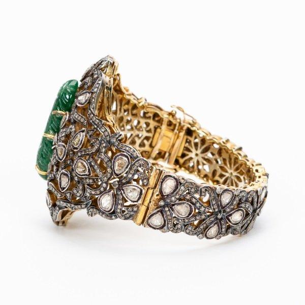 Antique Jade & Diamond Cuff Bracelet - 2