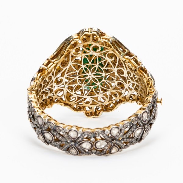 Antique Jade & Diamond Cuff Bracelet - 3