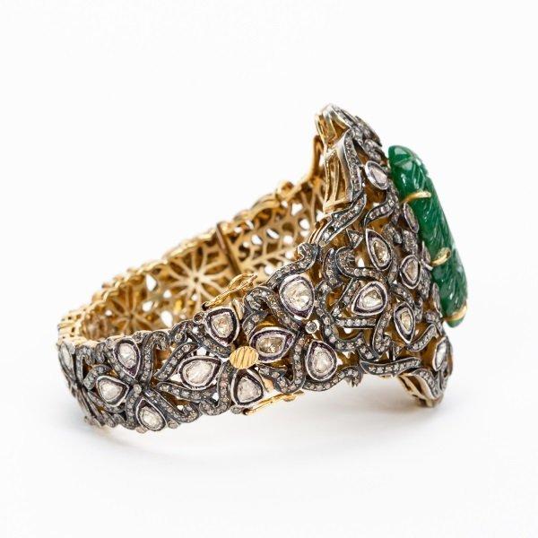 Antique Jade & Diamond Cuff Bracelet - 4