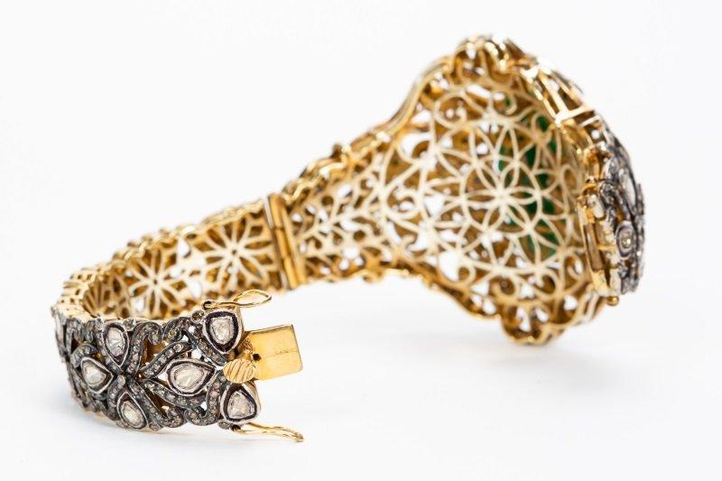 Antique Jade & Diamond Cuff Bracelet - 5
