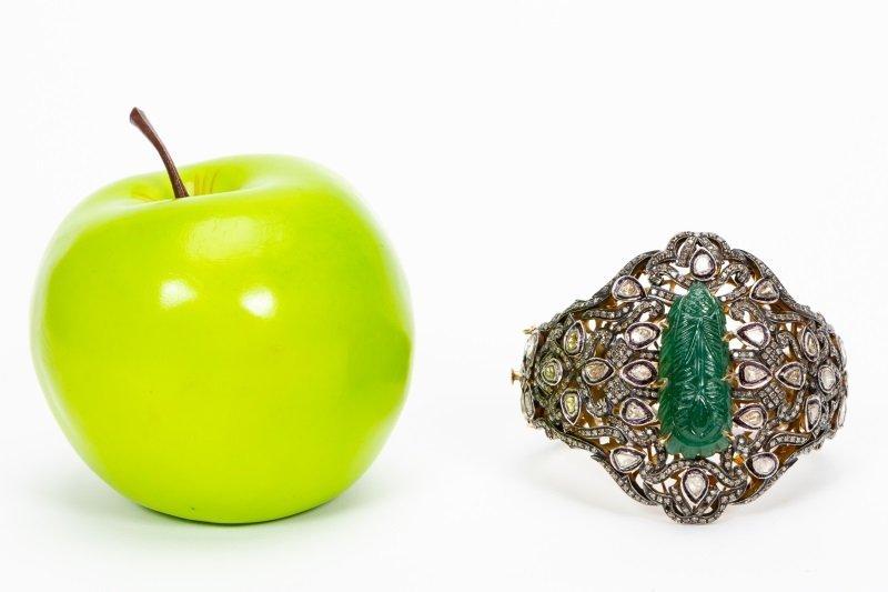 Antique Jade & Diamond Cuff Bracelet - 6