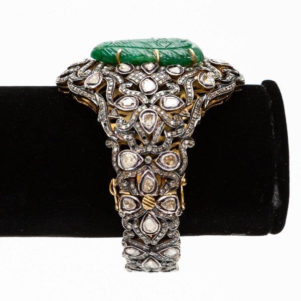 Antique Jade & Diamond Cuff Bracelet - 7