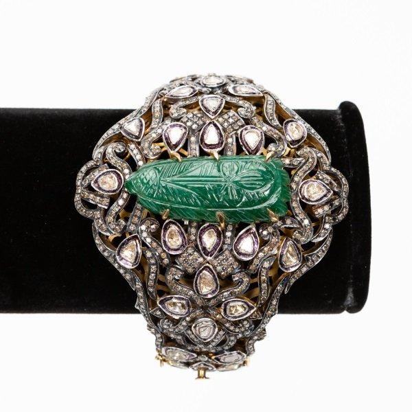 Antique Jade & Diamond Cuff Bracelet - 8