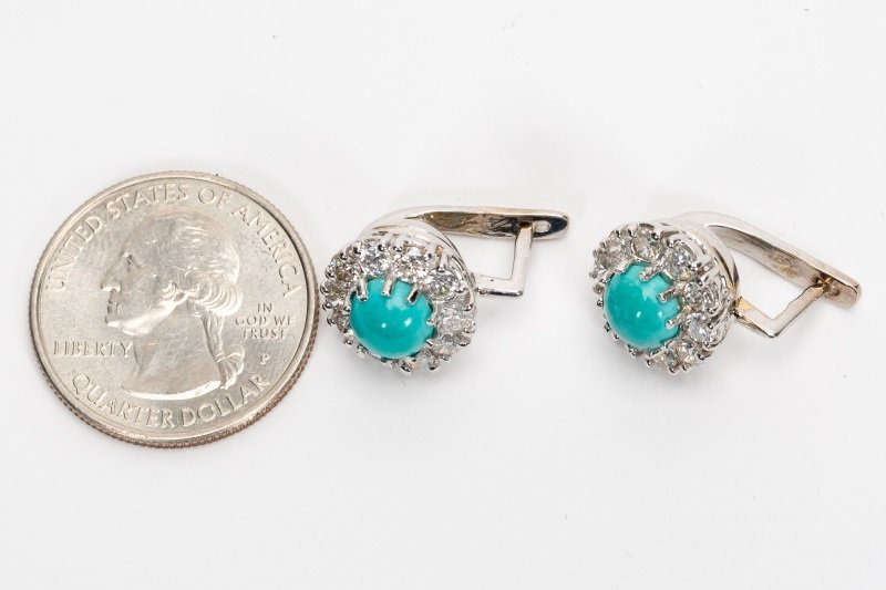 Turquoise & Diamond Earrings, 14k White Gold - 10