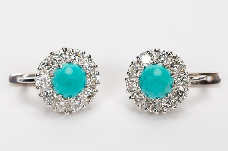 Turquoise & Diamond Earrings, 14k White Gold