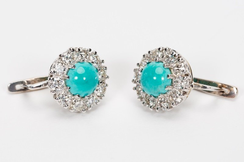 Turquoise & Diamond Earrings, 14k White Gold - 2
