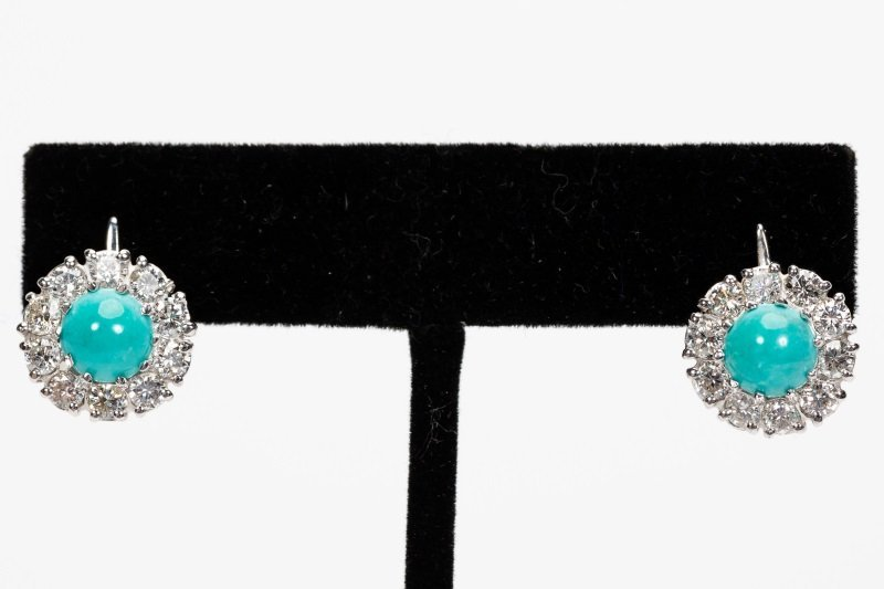 Turquoise & Diamond Earrings, 14k White Gold - 3