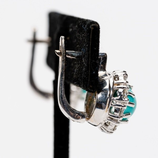 Turquoise & Diamond Earrings, 14k White Gold - 5