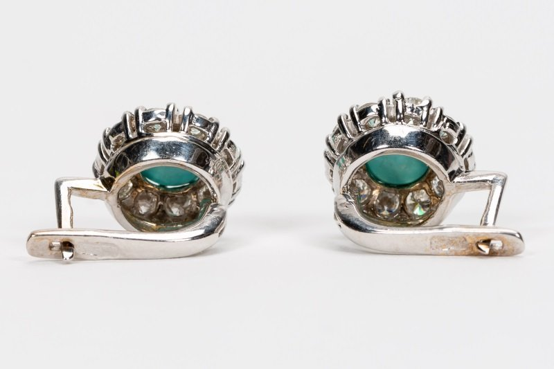 Turquoise & Diamond Earrings, 14k White Gold - 7