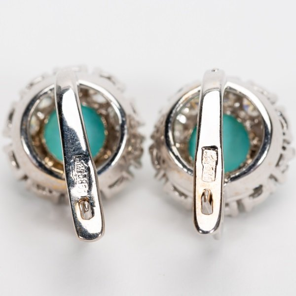 Turquoise & Diamond Earrings, 14k White Gold - 8