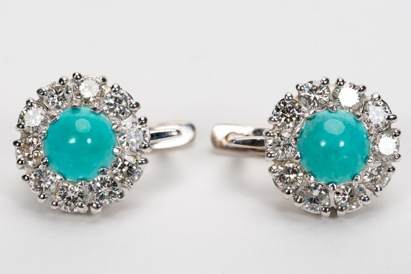 Turquoise & Diamond Earrings, 14k White Gold - 9