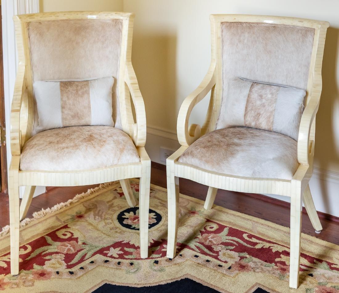 Pair, Modern Tessellated Bone Armchairs