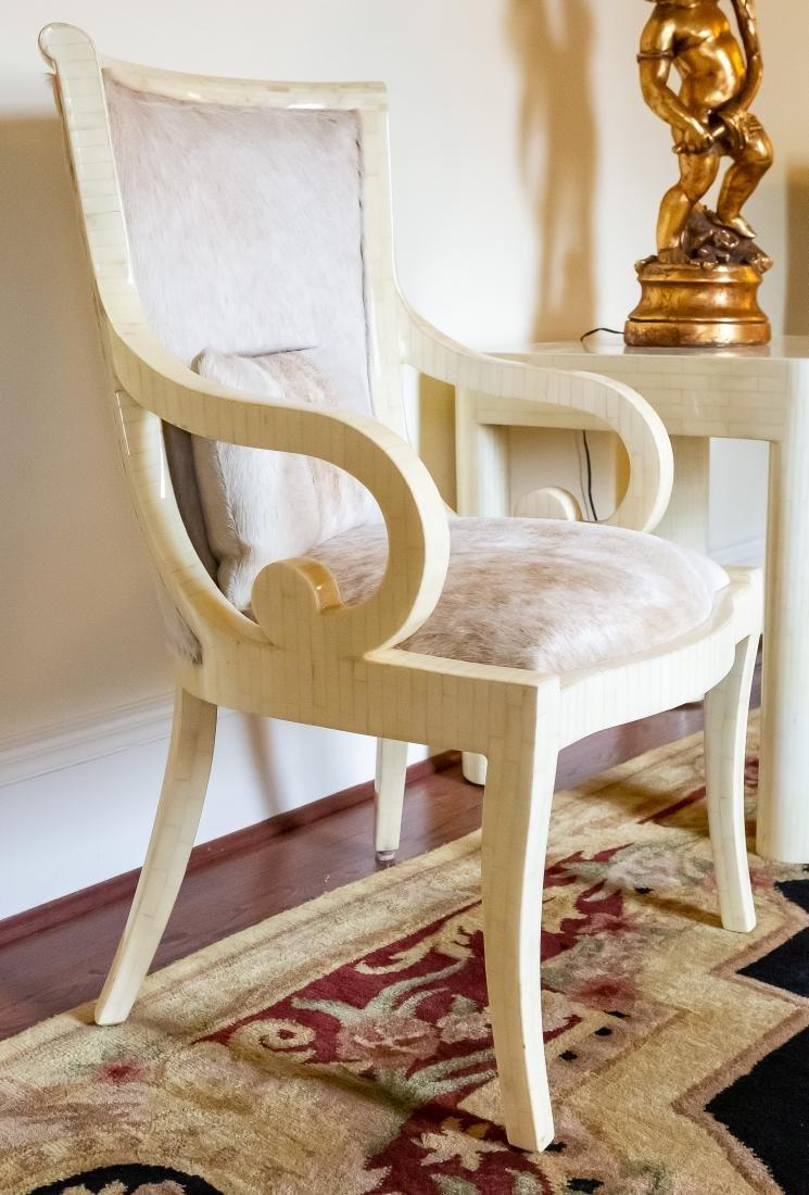 Pair, Modern Tessellated Bone Armchairs - 2
