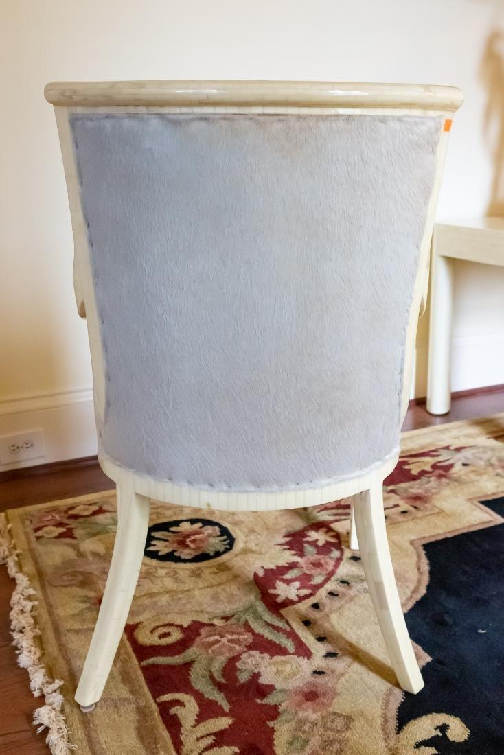 Pair, Modern Tessellated Bone Armchairs - 3