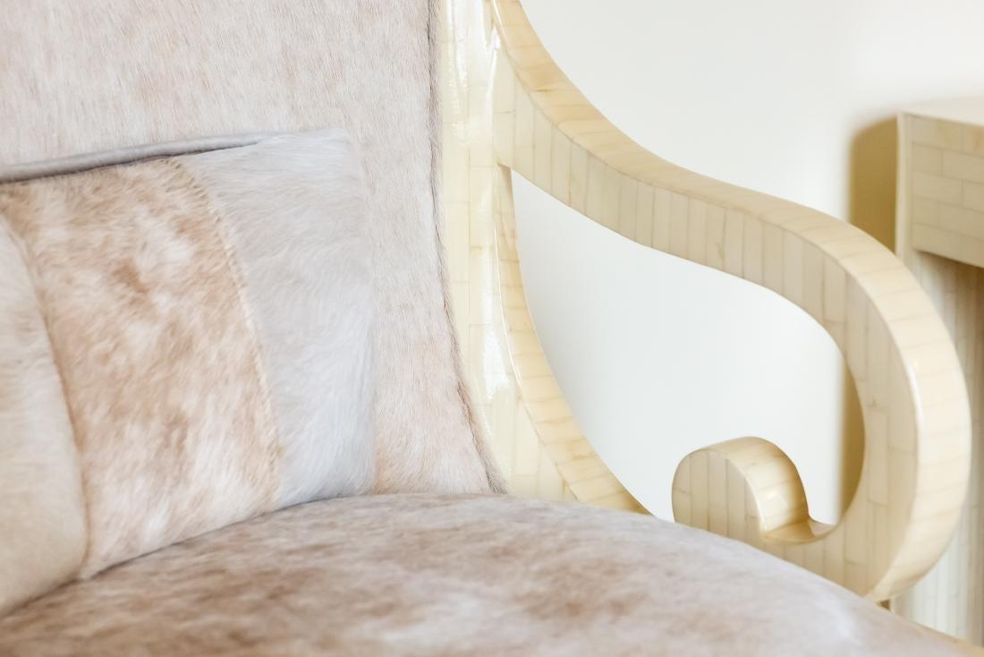 Pair, Modern Tessellated Bone Armchairs - 4