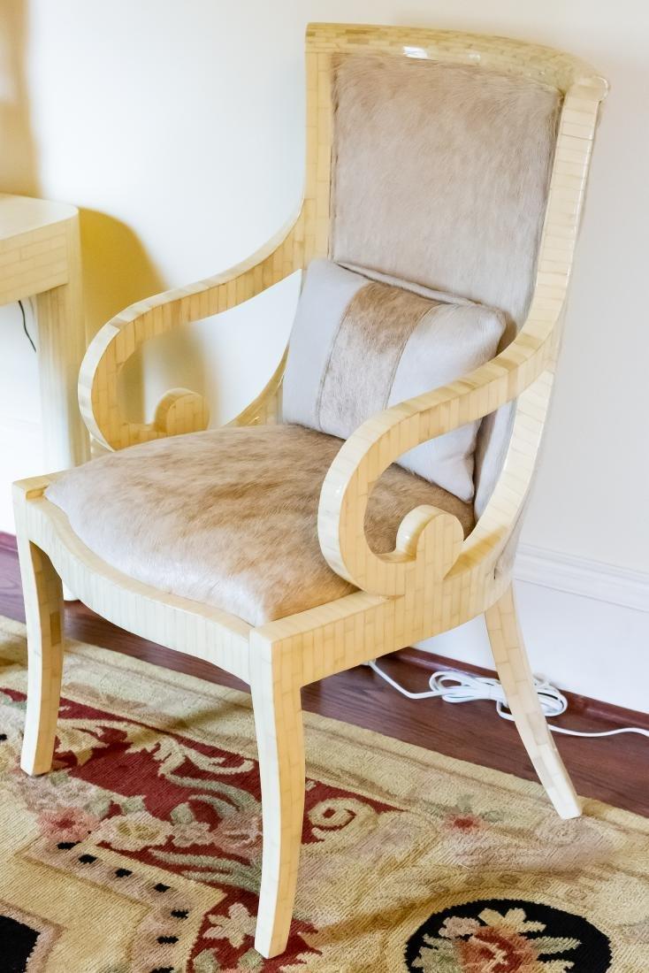 Pair, Modern Tessellated Bone Armchairs - 5