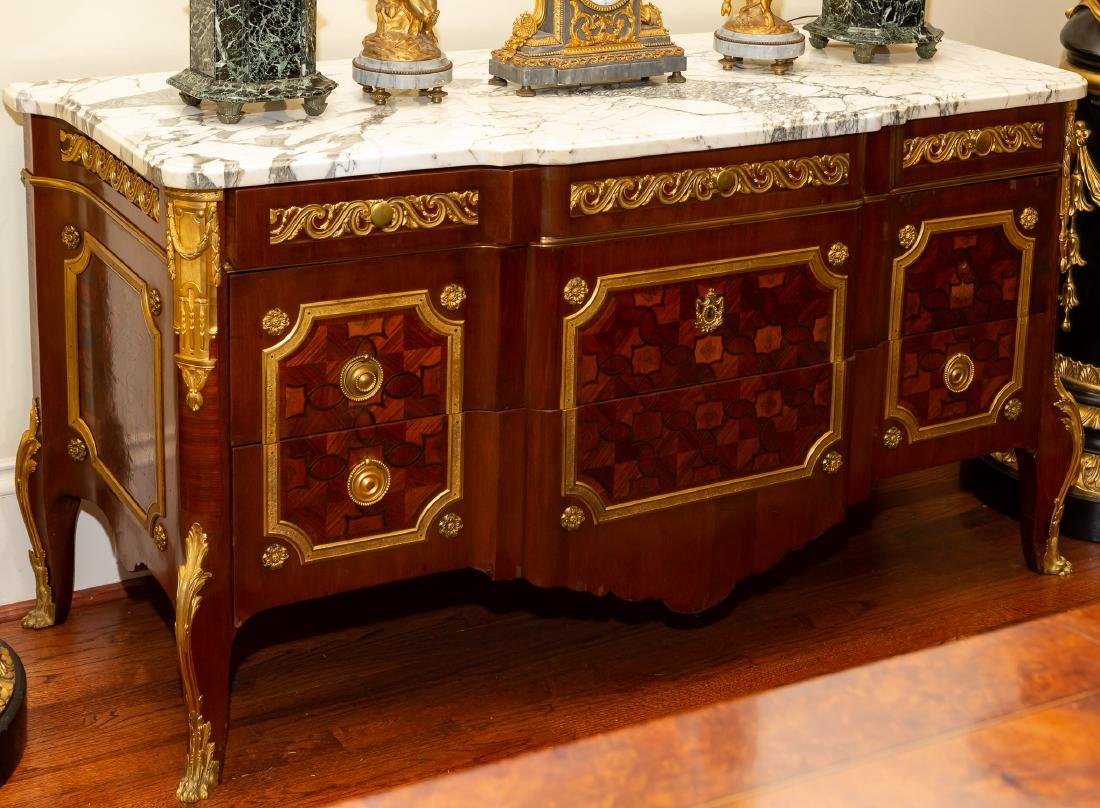 French Gilt Bronze Mounted Parquetry Commode
