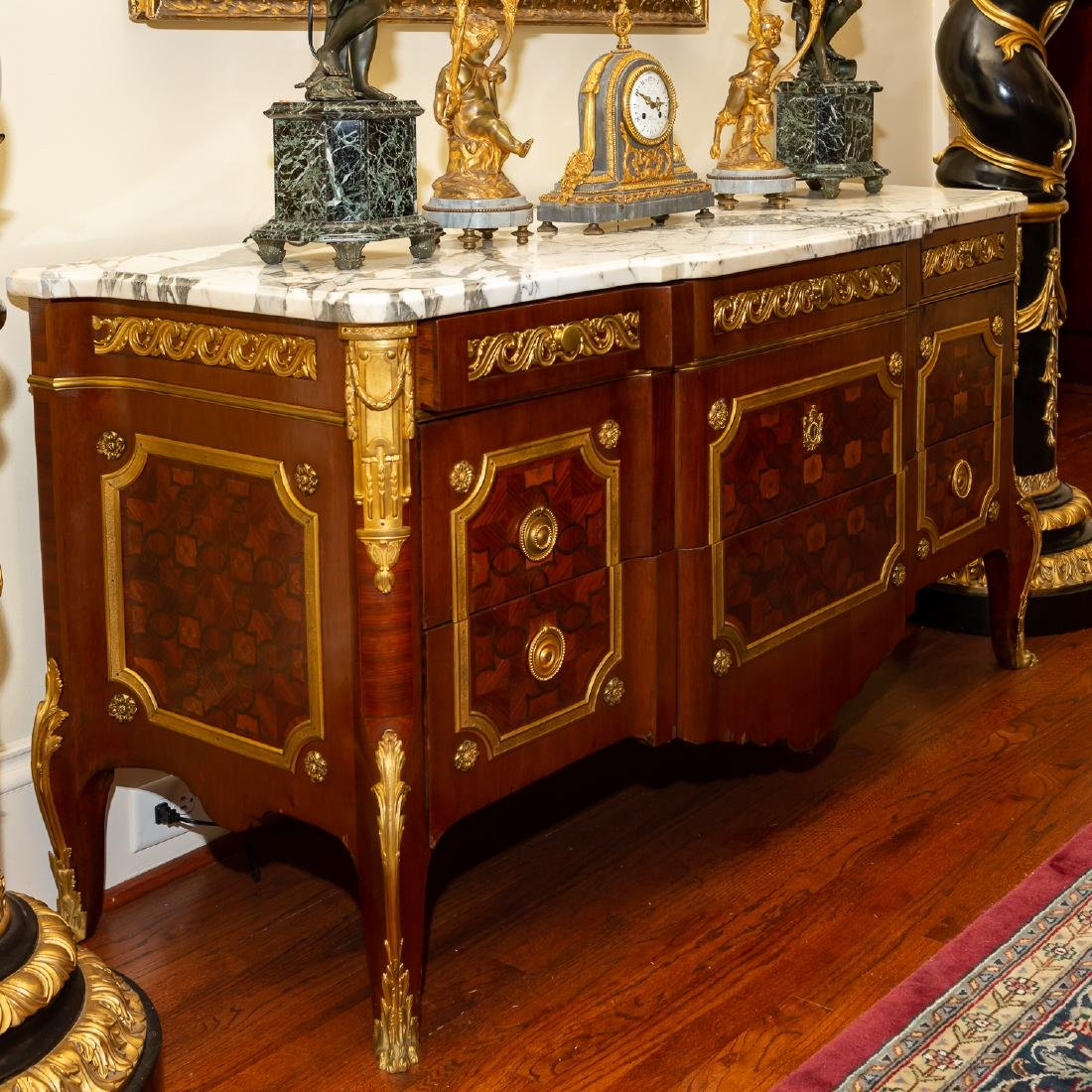 French Gilt Bronze Mounted Parquetry Commode - 2