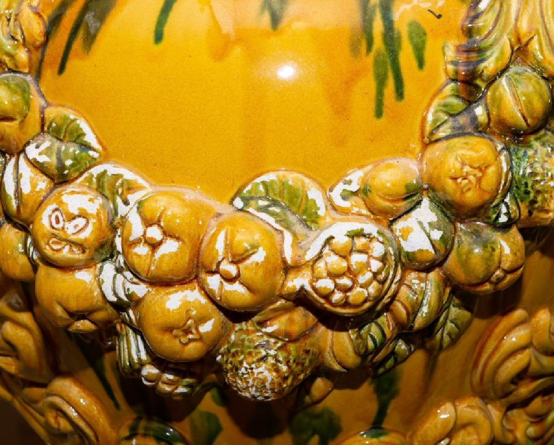 Large Italian Majolica Covered Urn - 4