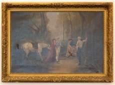 Framed Oil Canvas Dueling Scene