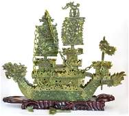 Contemporary Chinese Jade Carved Dragon Boat