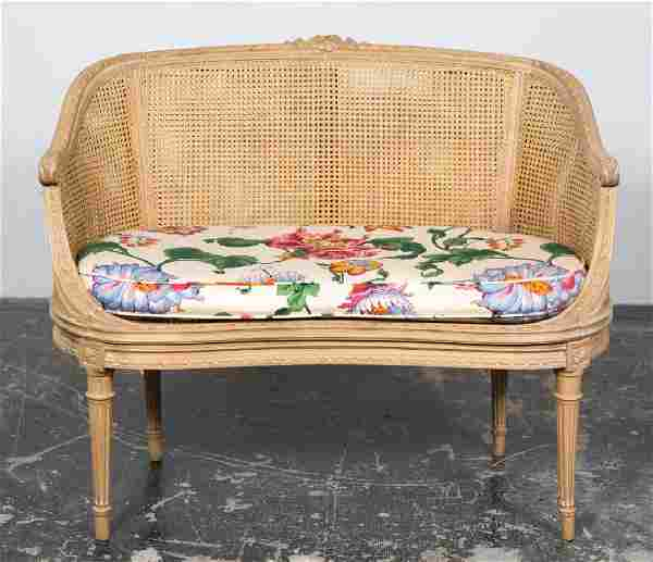 Small Louis XVI Style Double Caned Settee