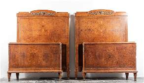 Pair, Twin Headboards & Footboards, Inlaid