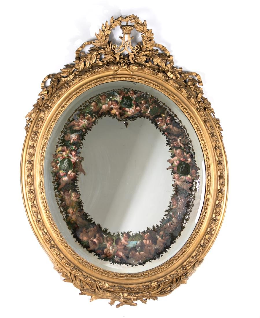 Palatial Oval Giltwood Mirror, Reverse Painted