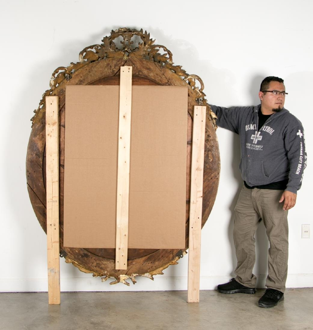 Palatial Oval Giltwood Mirror, Reverse Painted - 4