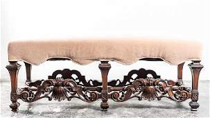 Mohair Upholstered Carved Baroque Style Bench