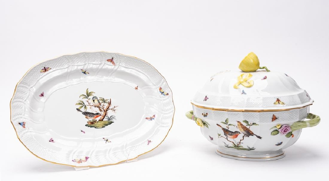 "Herend ""Rothschild Birds"" Lidded Tureen & Plate"