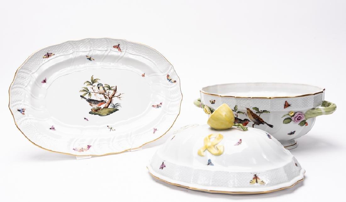 "Herend ""Rothschild Birds"" Lidded Tureen & Plate - 2"