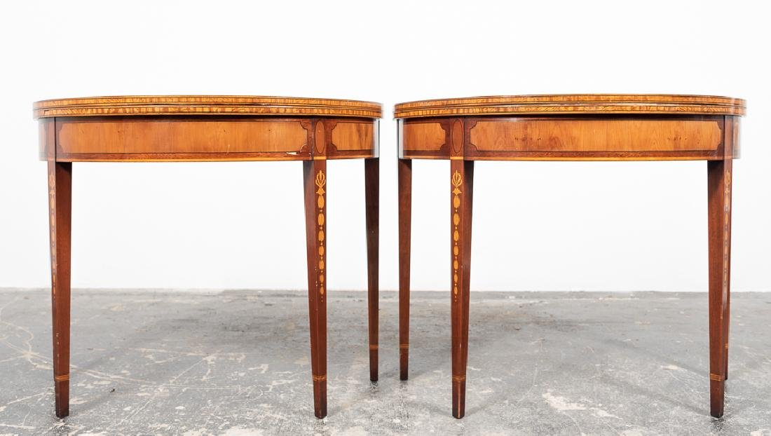 Pair, Inlaid Federal Style Demilune Games Tables