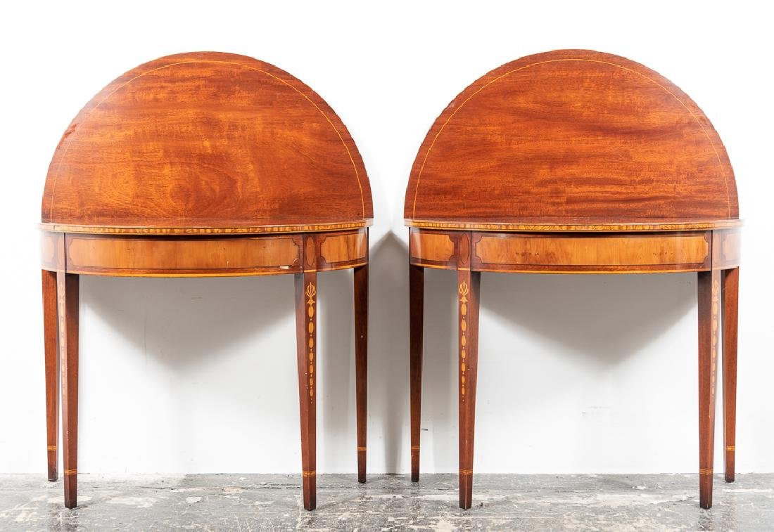 Pair, Inlaid Federal Style Demilune Games Tables - 2