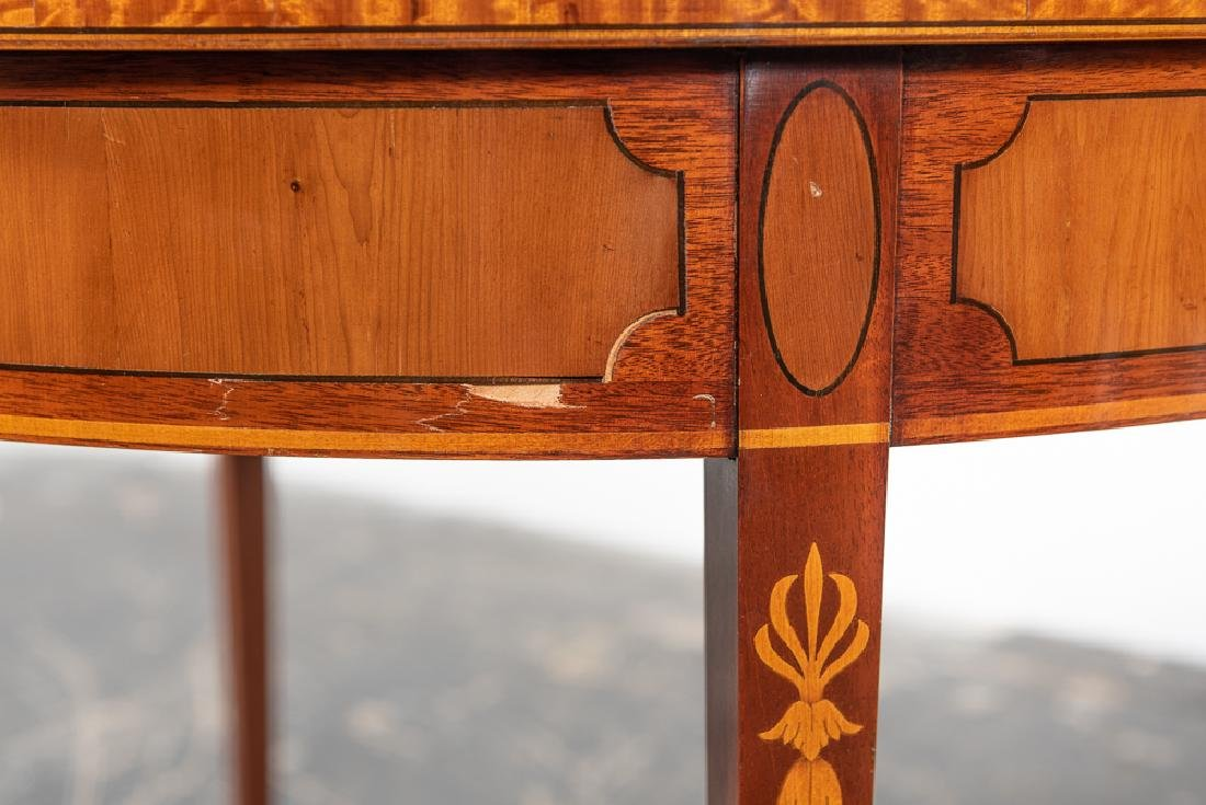 Pair, Inlaid Federal Style Demilune Games Tables - 4