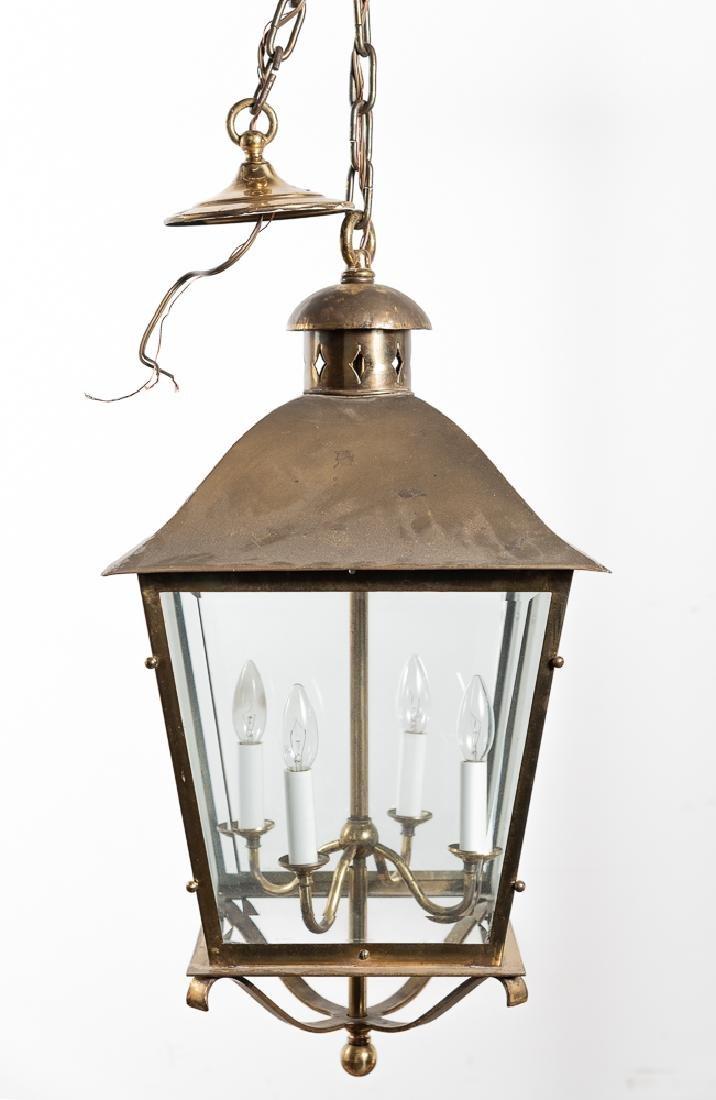 Brass Hanging Lantern Form Chandelier