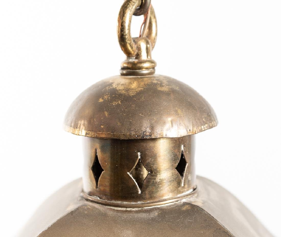 Brass Hanging Lantern Form Chandelier - 3