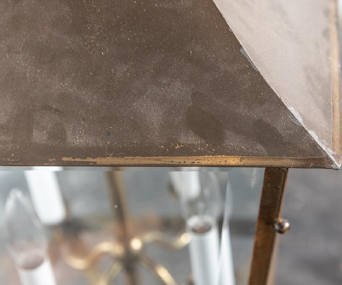 Brass Hanging Lantern Form Chandelier - 4