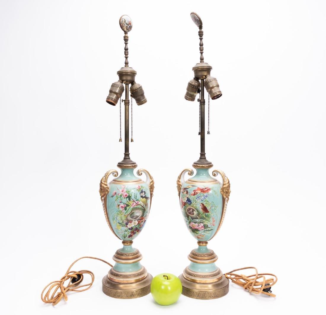 Pair, Victorian Porcelain Urn Form Table Lamps