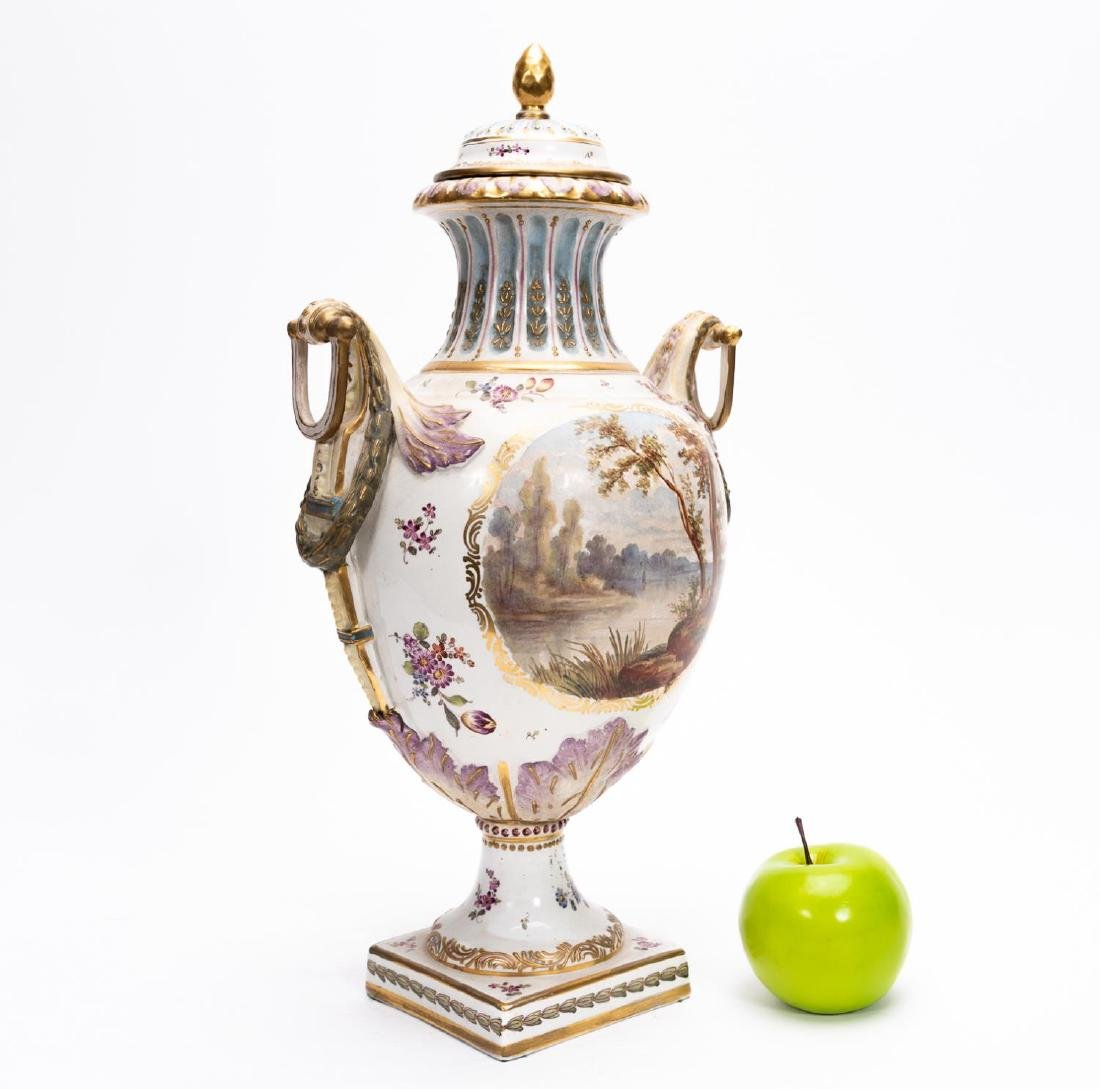 18th C. Veuve Perrin  Lidded Faience Urn