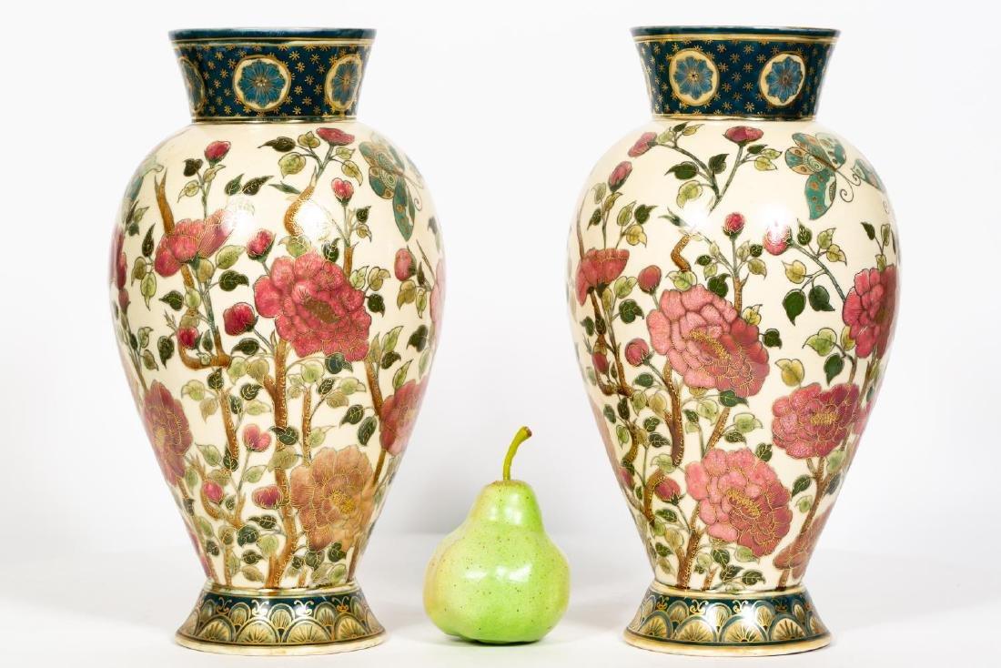 Pair, Zsolnay Japonesque Floral Motif Vases