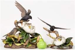 Pair, Boehm Purple Martin Bisque Porcelain Birds