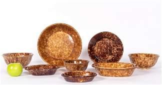 8 PC Bennington Rockingham Spongeware Pottery