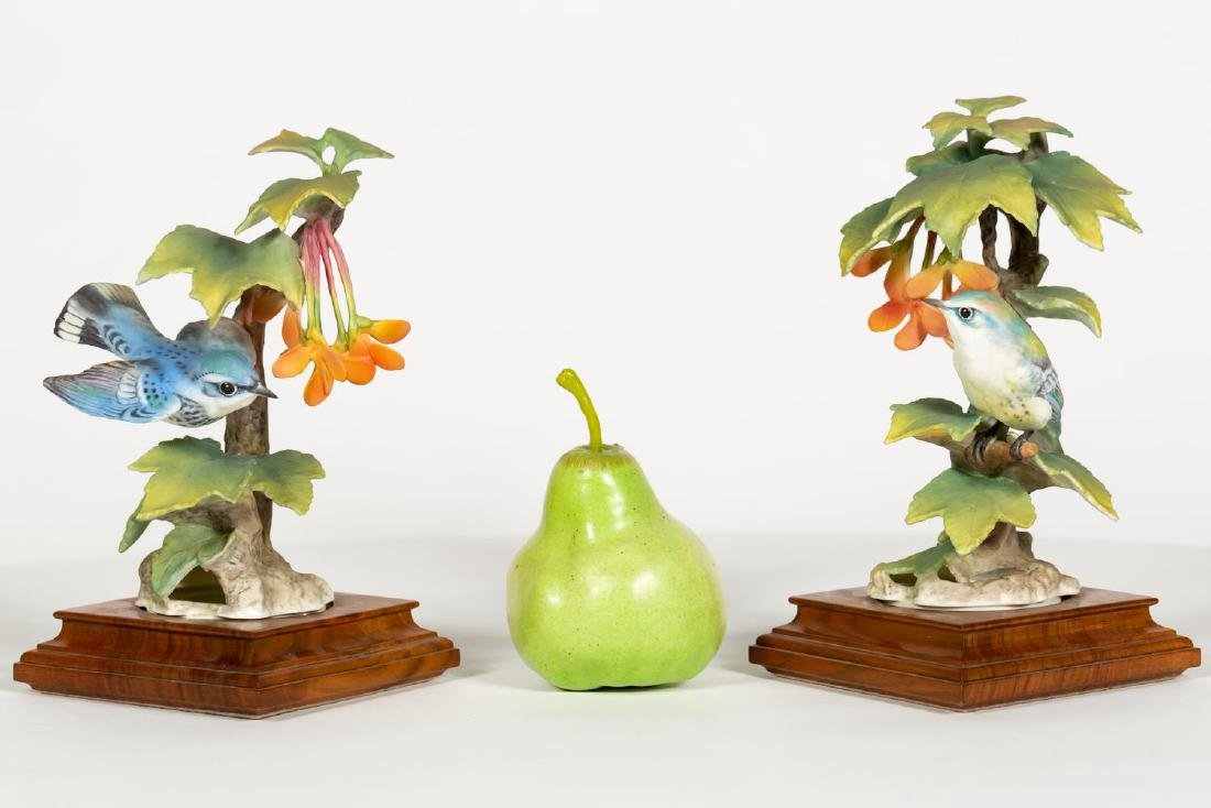 Pair of Doughty Cerulean Warbler & Maple Figures