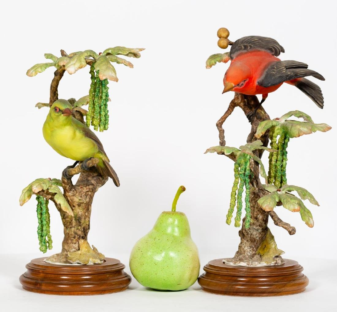 Pair, Doughty Scarlett Tanager Figurines w/ Stands