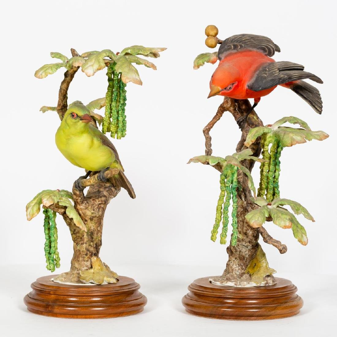 Pair, Doughty Scarlett Tanager Figurines w/ Stands - 2